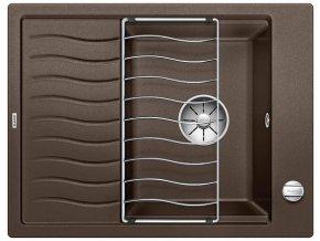 Granitový dřez Blanco ELON 45 S InFino káva + odkapávací rošt nerez a excentr 524823