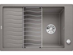 Granitový dřez Blanco ELON XL 6 S InFino aluminium + odkapávací rošt nerez a excentr 524836
