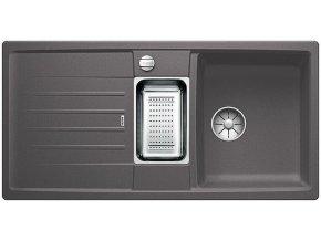 Granitový dřez Blanco LEXA 6 S InFino šedá skála + odkapávací miska nerez pro vaničku a excentr 524931  + Sanitární silikon + Designové masivní dřevěné krájecí prkénko z akácie