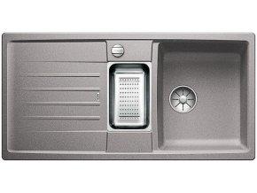 Granitový dřez Blanco LEXA 6 S InFino aluminium + odkapávací miska nerez pro vaničku a excentr 524932  + Sanitární silikon + Designové masivní dřevěné krájecí prkénko z akácie