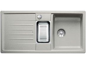 Granitový dřez Blanco LEXA 6 S InFino perlově šedá + odkapávací miska nerez pro vaničku a excentr 524933  + Sanitární silikon + Designové masivní dřevěné krájecí prkénko z akácie