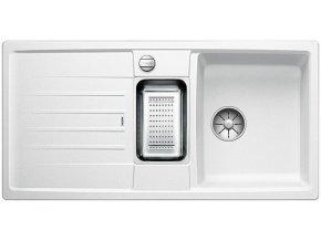 Granitový dřez Blanco LEXA 6 S InFino bílá + odkapávací miska nerez pro vaničku a excentr 524934  + Sanitární silikon + Designové masivní dřevěné krájecí prkénko z akácie