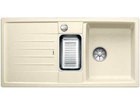 Granitový dřez Blanco LEXA 6 S InFino jasmín + odkapávací miska nerez pro vaničku a excentr 524935  + Sanitární silikon + Designové masivní dřevěné krájecí prkénko z akácie