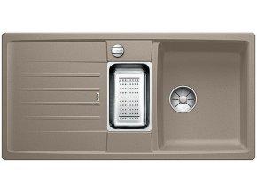 Granitový dřez Blanco LEXA 6 S InFino tartufo + odkapávací miska nerez pro vaničku a excentr 524937  + Sanitární silikon + Designové masivní dřevěné krájecí prkénko z akácie