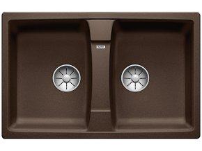 Granitový dřez Blanco LEXA 8 InFino káva  524969  + Sanitární silikon + Designové masivní dřevěné krájecí prkénko z akácie