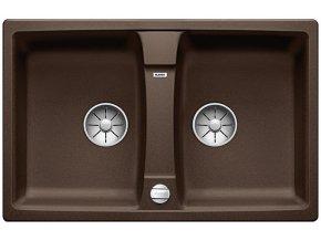 Granitový dřez Blanco LEXA 8 InFino káva s excentrem 524959  + Sanitární silikon + Designové masivní dřevěné krájecí prkénko z akácie