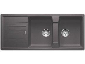 Granitový dřez Blanco LEXA 8 S InFino šedá skála  524981  + Sanitární silikon + Designové masivní dřevěné krájecí prkénko z akácie