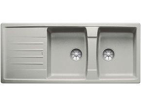 Granitový dřez Blanco LEXA 8 S InFino perlově šedá  524983  + Sanitární silikon + Designové masivní dřevěné krájecí prkénko z akácie