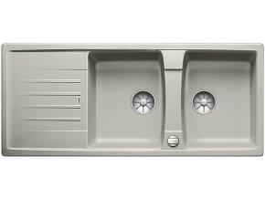 Granitový dřez Blanco LEXA 8 S InFino perlově šedá s excentrem 524973  + Sanitární silikon + Designové masivní dřevěné krájecí prkénko z akácie