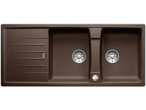Granitový dřez Blanco LEXA 8 S InFino káva s excentrem 524979  + Sanitární silikon + Designové masivní dřevěné krájecí prkénko z akácie