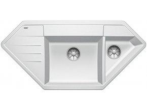 Granitový dřez Blanco LEXA 9 E InFino bílá  525004  + Sanitární silikon + Designové masivní dřevěné krájecí prkénko z akácie