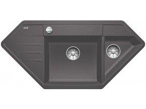 Granitový dřez Blanco LEXA 9 E InFino šedá skála s excentrem 524991  + Sanitární silikon + Designové masivní dřevěné krájecí prkénko z akácie