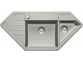 Granitový dřez Blanco LEXA 9 E InFino perlově šedá s excentrem 524993  + Sanitární silikon + Designové masivní dřevěné krájecí prkénko z akácie