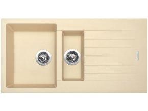 Granitový dřez Sinks PERFECTO 1000.1 Sahara  + Sanitární silikon + Designové masivní dřevěné krájecí prkénko z akácie
