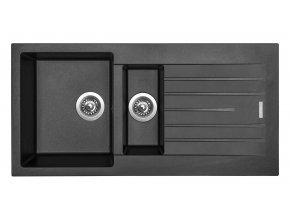 Granitový dřez Sinks PERFECTO 1000.1 Metalblack  + Sanitární silikon + Designové masivní dřevěné krájecí prkénko z akácie