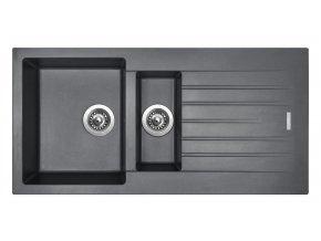 Granitový dřez Sinks PERFECTO 1000.1 Titanium  + Sanitární silikon + Designové masivní dřevěné krájecí prkénko z akácie