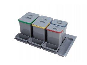 Systém košů Sinks PRACTIKO 900 pro vložení do zásuvky 2x 12 + 2x 5 L + misky