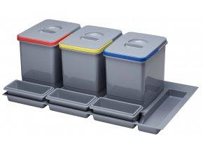 Systém košů Sinks PRACTIKO 900 pro vložení do zásuvky 3x 12 L + misky