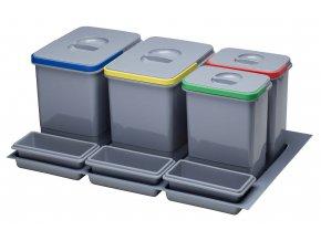Systém košů Sinks PRACTIKO 800 pro vložení do zásuvky 2x 12 + 2x 5 L + misky