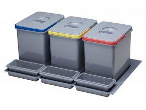 Systém košů Sinks PRACTIKO 800 pro vložení do zásuvky 3x 12 L + misky