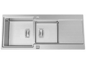 Nerezový dřez Sinks EVO 1160.1 1,2mm s excentrem  + Čistící pasta pro nerezové dřezy SINKS + Designové masivní dřevěné krájecí prkénko z akácie