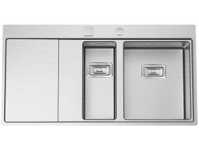 Nerezový dřez Sinks XERON 1000.1 pravý 1,2mm s excentrem  + Čistící pasta pro nerezové dřezy SINKS + Designové masivní dřevěné krájecí prkénko z akácie