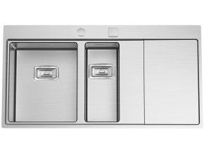 Nerezový dřez Sinks XERON 1000.1 levý 1,2mm s excentrem  + Čistící pasta pro nerezové dřezy SINKS + Designové masivní dřevěné krájecí prkénko z akácie