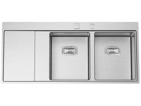 Nerezový dřez Sinks XERON 1160 DUO pravý 1,2mm s excentrem  + Čistící pasta pro nerezové dřezy SINKS + Designové masivní dřevěné krájecí prkénko z akácie