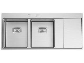Nerezový dřez Sinks XERON 1160 DUO levý 1,2mm s excentrem  + Čistící pasta pro nerezové dřezy SINKS + Designové masivní dřevěné krájecí prkénko z akácie
