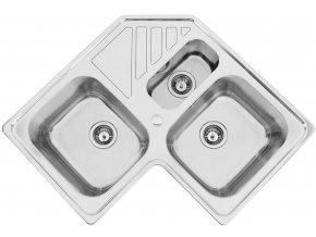 Nerezový dřez Sinks KEPLER 830.1 DUO V 0,7mm leštěný  + Čistící pasta pro nerezové dřezy SINKS + Designové masivní dřevěné krájecí prkénko z akácie
