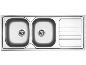 Nerezový dřez Sinks OKIO 1200 DUO V 0,7mm matný  + Čistící pasta pro nerezové dřezy SINKS