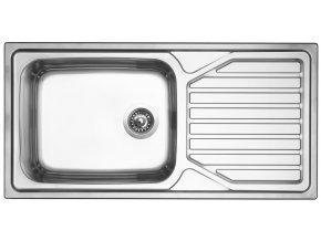 Nerezový dřez Sinks OKIOPLUS 1000 V 0,7mm leštěný  + Čistící pasta pro nerezové dřezy SINKS + Designové masivní dřevěné krájecí prkénko z akácie