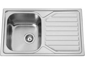Nerezový dřez Sinks OKIOPLUS 800 V 0,7mm leštěný  + Čistící pasta pro nerezové dřezy SINKS + Designové masivní dřevěné krájecí prkénko z akácie