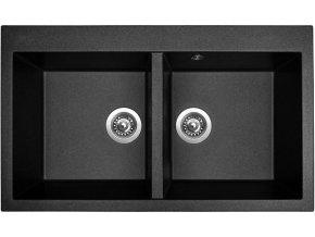 Granitový dřez Sinks AMANDA 860 DUO Metalblack  + 2x Čistič pro granitové dřezy SINKS
