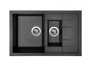 Granitový dřez Sinks CRYSTAL 780.1 Metalblack  + Sanitární silikon + Designové masivní dřevěné krájecí prkénko z akácie
