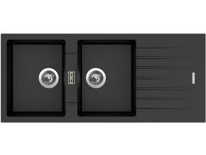 Granitový dřez Sinks PERFECTO 1160 DUO Metalblack  + Sanitární silikon + Designové masivní dřevěné krájecí prkénko z akácie