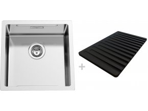 Nerezový dřez Sinks BOXSTEP 450 RO 1,0mm + krájecí deska černá (odkapávač)  + Čistící pasta pro nerezové dřezy SINKS + Designové masivní dřevěné krájecí prkénko z akácie