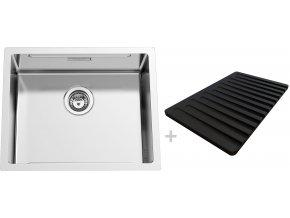 Nerezový dřez Sinks BOXSTEP 550 RO 1,0mm + krájecí deska černá (odkapávač)  + Čistící pasta pro nerezové dřezy SINKS + Designové masivní dřevěné krájecí prkénko z akácie