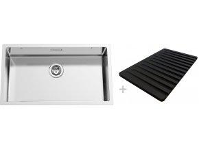 Nerezový dřez Sinks BOXSTEP 790 RO 1,0mm + krájecí deska černá (odkapávač)  + Čistící pasta pro nerezové dřezy SINKS + Designové masivní dřevěné krájecí prkénko z akácie