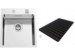 Nerezový dřez Sinks BOXERSTEP 450 RO 1,2mm + krájecí deska černá (odkapávač) a excentr  + Čistící pasta pro nerezové dřezy SINKS + Designové masivní dřevěné krájecí prkénko z akácie