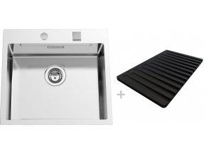 Nerezový dřez Sinks BOXERSTEP 550 RO 1,2mm + krájecí deska černá (odkapávač) a excentr  + Čistící pasta pro nerezové dřezy SINKS + Designové masivní dřevěné krájecí prkénko z akácie