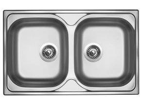 Nerezový dřez Sinks CLASSIC 800 DUO V 0,6mm matný  + Čistící pasta pro nerezové dřezy SINKS