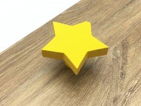 drevena nabytkova knopka hvezdicka zluta