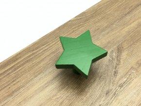 drevena nabytkova knopka hvezdicka zelena