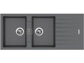Granitový dřez Sinks PERFECTO 1160 DUO Titanium  + Čistící pasta pro nerezové dřezy SINKS
