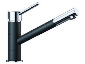 Kuchyňská vodovodní baterie Blanco KANO HD silgranit černá/chrom 526175