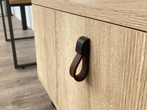nabytkova knopka leather cerna tm. hneda kuze detail 5