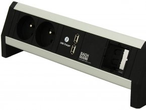 29529 2 elektro zasuvka bachmann desk 1 2x 230v 2x usb nabijecka 1x slot 902 0185