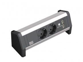 29526 2 elektro zasuvka bachmann desk 1 2x 230v 2x usb nabijecka 902 068