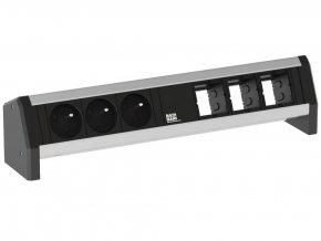 29520 2 elektro zasuvka bachmann desk 1 3x 230v 3x uziv modul 902 006